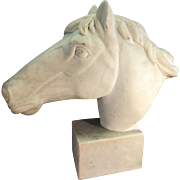 Vintage Horse Head Sculpture Bust Alabaster Or Stone Marble Statue