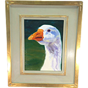 Original Oil Painting Goose Ann Herzog Wright Listed Artist