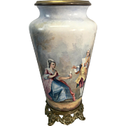 French Enamel On Copper Scenic Courting Couple Vase Ormolu Base