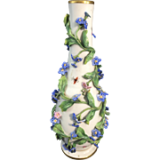 Meissen German Porcelain Vase Encrusted Flowers Leaves & Insects As Found