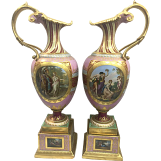 Pr 19th Century Royal Vienna Porcelain Urns Ewers Painted Scenes