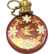 Edwardian Victorian Bohemian Cranberry Glass Chatelaine Scent Perfume Bottle