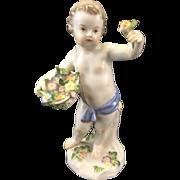 Meissen Porcelain Cupid Cherub Putti Figurine W Flowers