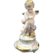 Meissen Porcelain Cupid Cherub Putti Figurine Seated W Heart