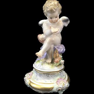 Meissen Porcelain Cupid Cherub Putti Figurine Seated W Heart