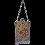Old Vienna Austria Micro Beaded Cabachon Jeweled Purse Bag Ada Grunfeld Floral