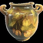 1890's Rookwood Art Pottery Handled Vase Artist Constance Baker Standard Glaze W Chinese Lantern Flowers