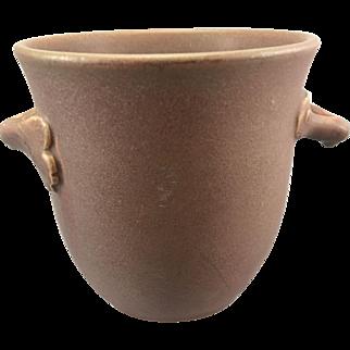 1910 Rookwood Art Pottery Handled Vase Pot Matte Dark Dusty Rose Color