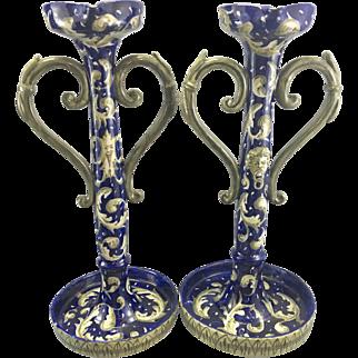 Pr Antique Italian Faience Majolica Cobalt Blue Candle Holders