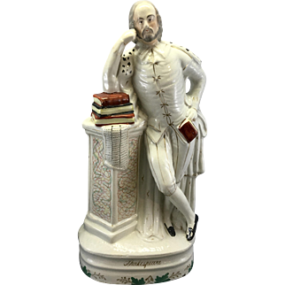 19th C Victorian Staffordshire Pottery Shakespeare Figure Sculpture Exhibited Houldsworth Hall Manchester England