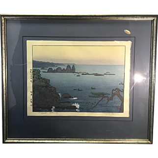 Vintage Toshi Yoshida Japanese Woodblock Print 1911-1995 Framed