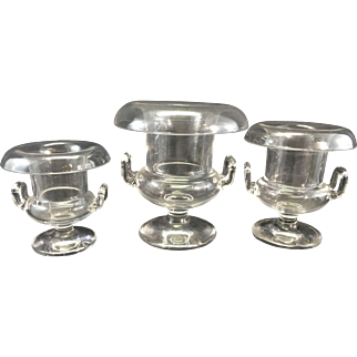 Set 3 Antique Rolled Top Glass Grecian Style Crystal Campagna Urns Vases