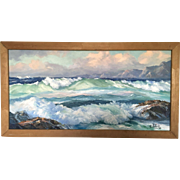 Actor Ralph Bellamy Original Seascape Oil On Canvas Painting 1952