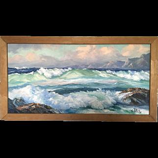 Actor Ralph Bellamy Original Seascape Oil On Canvas Painting 1952