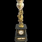 Vienna Austria Viennese Bronze Enamel Jeweled Clock W Maiden