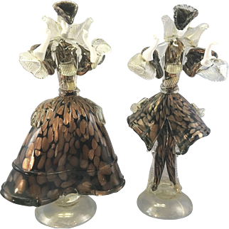 Pr Vintage Murano Venetian Italy Art Glass Dancers La Murrina Sculpture Gold Flecks