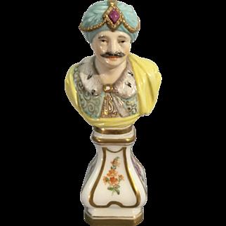 Old German European Porcelain Mini Bust Maharaja Prince Asia