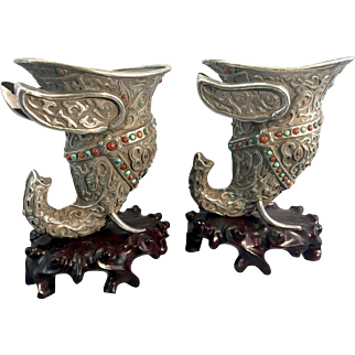 Pr Vintage Chinese Sino Tibetan Silver Jeweled Elephant Libation Cups Vases W Stands