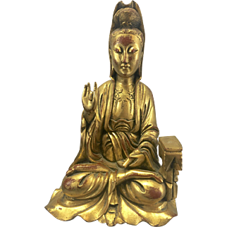 Old Chinese Carved Gilt Wood Chinese Kwan Yin Guanyin Sculpture Statue