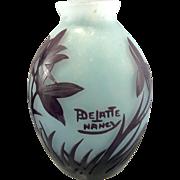 French Art Glass Andre Delatte Cameo Acid Etched Vase Nancy France