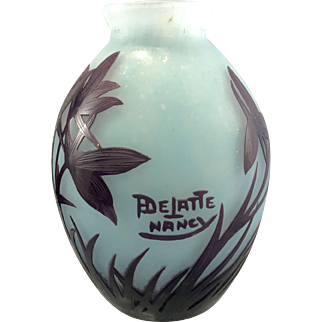 French Art Glass Andre Delatte Cameo Acid Etched Vase Nancy France