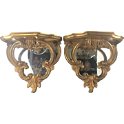 Pr Vintage Italian Gilt Wood Chippendale Chinoiserie Style Mirror Shelf Brackets