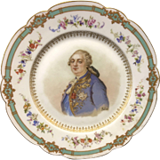 Antique 1846 French Sevres France Porcelain Plate King Louis XVI Signed Gebrie