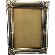 Old Sterling Silver Photo Frame Raised Scrolled Corners