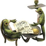 Bergmann Vienna Austrian Cold Painted Bronze Frogs French Cafe