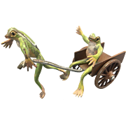 Bergmann Vienna Austrian Cold Painted Bronze Frogs W Wagon