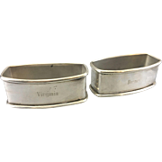 2 Vintage Webster Sterling Silver Oblong Napkin Rings