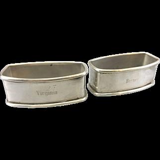 2 Vintage Webster Sterling Silver Oblong Napkin Rings