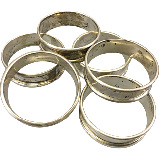 6 Vintage Wallace Sterling Silver Napkin Rings