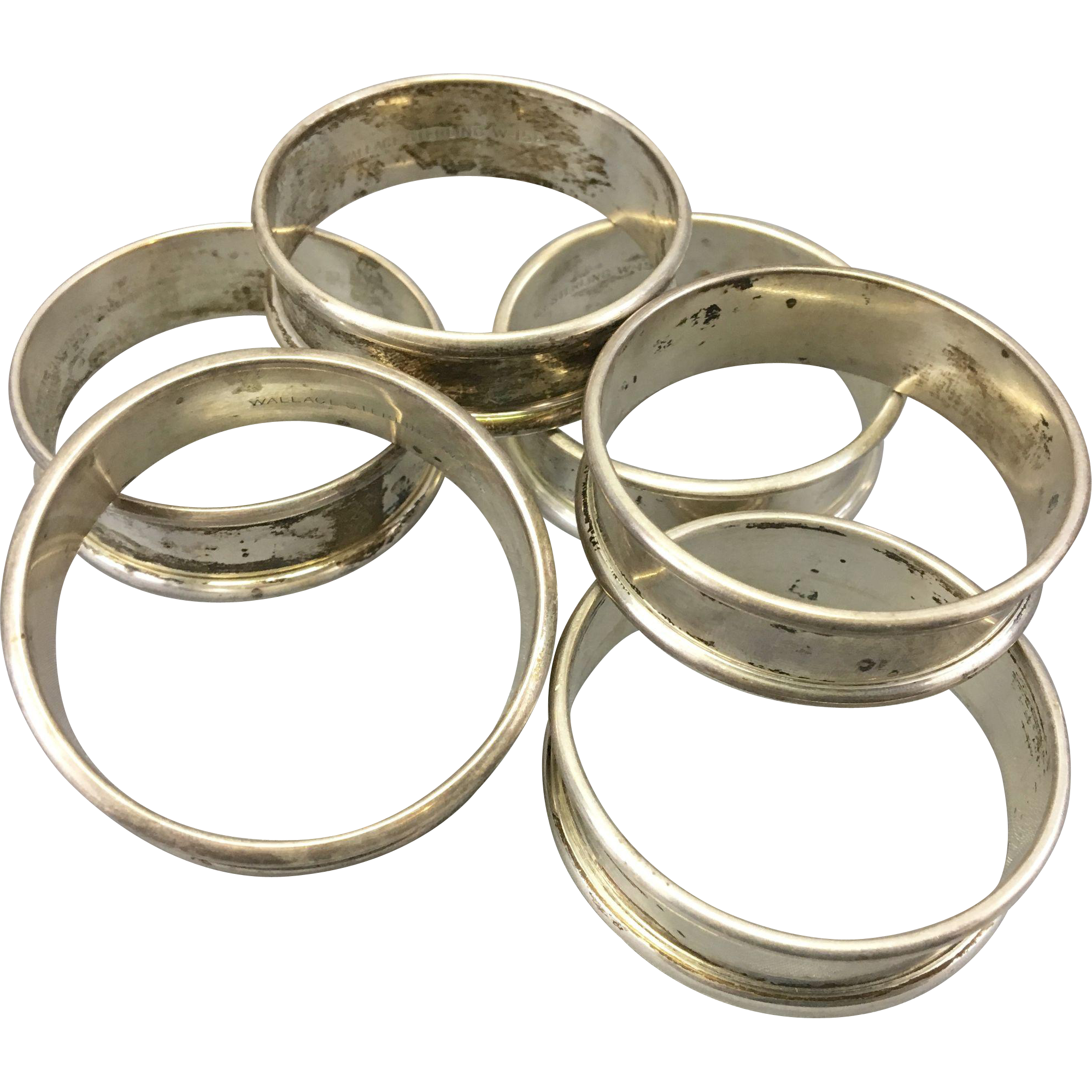 6 vintage wallace sterling silver napkin rings from
