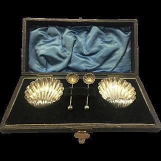 Antique Victorian Sterling Silver Footed Shell Salt Cellars W Spoons & Box Birmingham EG