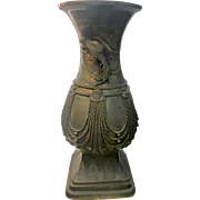 Large Antique Archaic Japanese Bronze Urn Vase W Phoenix Birds