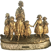 Giuseppe Joseph D'Aste Dore Bronze Italy Paris Fete Au Village Women W Children