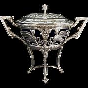 German 800 Silver Footed Master Salt Sugar Bowl W Lid Sphinx Shell Feet Cobalt Glass Insert
