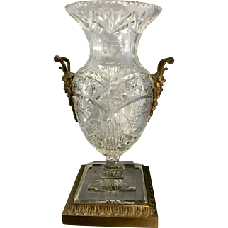 Antique Continental Cut Glass Crystal Mounted Bronze Ormolu Urn