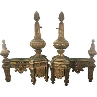Antique French Bronze Fireplace Chenets Andirons Louis XVI Style
