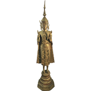 19th C. Asian Thai Gilt Bronze Ratanakosin Buddha Sculpture
