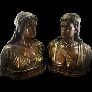 Austrian Terra Cotta Sculpture Bust Siegfried & Kriemhild Goldscheider Nibelungen