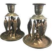 Old Persian Copper Plated Metal Candle Holders W Fish