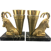 Pair Old Persian Gilt Bronze Libation Rhyton Ram Cups On Marble W Glass Insert