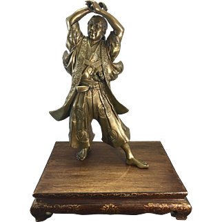 Antique Japanese Metal Bronze Samurai Warrior Sculpture Eisuke Miyao Meji