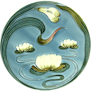 Antique Zell Majolica Plate Water Lilies Baden Germany Art Nouveau