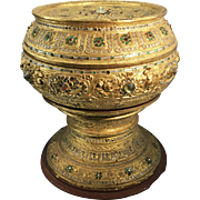 Vintage Burmese Asian Lacquered Gilt Temple Vessel Jeweled Glass Betel Box