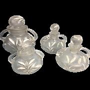 Vintage Czech Art Glass Vanity Jar Set Enamel Wheat Leaves Corroso Texture