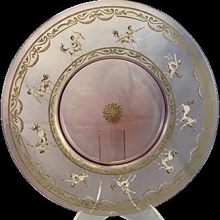 Antique Venetian Art Glass Pink Cranberry Charger Plate W Enamel Minotaur Decoration Gilt