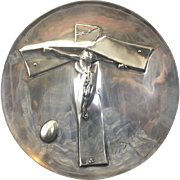 Vintage 1972 Salvador Dali Sterling Silver Crucifix Stylized Christ Easter Plate